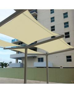 Real Scene Effect of Windscreen4less Terylene Waterproof 10ft x 13ft Rectangle Curve Edge Sun Shade Sail Canopy in Color Beige for Outdoor Patio Backyard UV Block Awning with Steel D-Rings 220GSM (1 Year Warranty)(Customized)