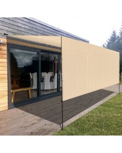 Real Scene Effect of Windscreen4less Beige 10ft. W x 16ft. H Outdoor Sun Shade Panel Universal Pergola Replacement Cover Canopy with Grommets Weight Rods Sun Block Cover for Patio Backyard 180GSM (3 Year Warranty)-Custom Sizes Available