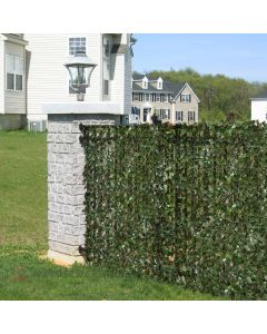 Real Scene Effect of Windscreen4less Artificial Leaf Faux Ivy Expandable/Stretchable Privacy Fence Screen Single Side Leaves 2pcs