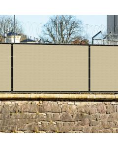 Real Scene Effect of Windscreen4less Custom Size 1-9ft x 1-150ft Fence Privacy Screen Coated Polyester Mesh in Color Beige with Brass Grommets 100% Blockage 440GSM w/3-Year Warranty