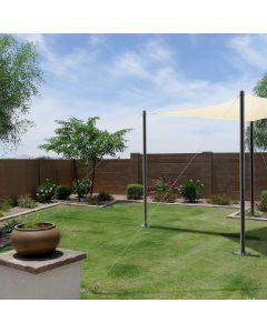 Real Scene Effect of Hard Ground Wall Anchor with 15ft One-Way Wire Lock Cable for Shade Sail Installation Make Post or Mast More Stable Includes Sheep Eye Pull Screw