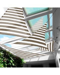 Real Scene Effect of Windscreen4less Custom Size 5-24ft x 5-24ft x 5-34ft Triangle Straight Edge Sun Shade Sail Canopy in Color Brown with White for Outdoor Patio Backyard UV Block Awning with Steel D-Rings 180GSM (3 Year Warranty)