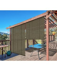 Real Scene Effect of Windscreen4less Exterior Roller Shade Blinds Outdoor Roll Up Shade with 90% UV Protection Privacy for Deck Backyard Gazebo Pergola Balcony Patio Porch Carport 8ft W x 6ft H Brown Hollow 165GSM (3 Year Warranty)-Custom Sizes Available