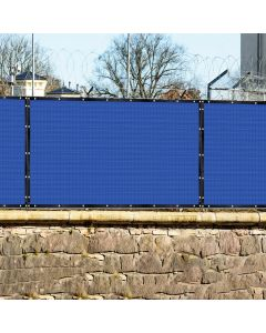 Real Scene Effect of Windscreen4less 4ft x 25ft Heavy Duty Privacy Fence Screen in Color Blue with Brass Grommet 88% Blockage Windscreen Outdoor Mesh Fencing Cover Netting 150GSM Fabric (3 Year Warranty)-Custom Sizes Available
