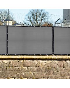 Real Scene Effect of Windscreen4less Custom Size 1-16ft x 1-160ft Heavy Duty Privacy Fence Screen in Color Gray with Brass Grommet 95% Blockage Windscreen Outdoor Mesh Fencing Cover Netting 240GSM Fabric w/7-Year Warranty