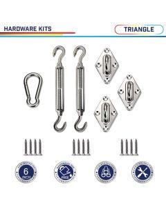 Windscreen4less Sun Shade Sail Hardware Kit - 6 Inches - Super Heavy Duty - For Triangle Sun Shade Sail