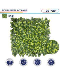 "Windscreen4less Artificial Faux Ivy Leaf Decorative Fence Screen 20"" x 20"" Ficus 12pcs"