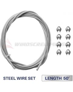 Windscreen4less Shade Sail Wire Rope and 8 Pcs Clips, Vinyl Coated Wire Cable Galvanized Metal Clamp, 3/16-Inch x 50ft