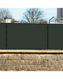 Real Scene Effect of Windscreen4less Custom Size 1-14ft x 1-150ft Fence Privacy Screen Coated Polyester Mesh in Color Dark Green with Brass Grommets 100% Blockage 440GSM w/3-Year Warranty