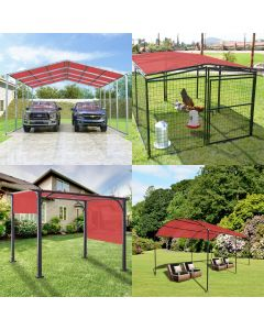 Real Scene Effect of Windscreen4less Custom Size 2-24ft x 2-40ft Rectangle Straight Edge Sun Shade Sail Canopy With Grommets in Color Red for Outdoor Patio Backyard UV Block Awning with Steel D-Rings 180GSM (3 Year Warranty)