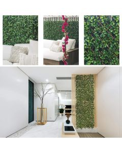 Real Scene Effect of Windscreen4less Artificial Leaf Faux Ivy Expandable/Stretchable Privacy Fence Screen Ficus Single Side 1pc