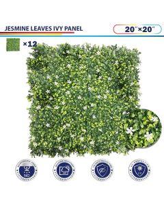 "Windscreen4less Artificial Faux Ivy Leaf Decorative Fence Screen 20"" x 20"" Jasmine 12pcs"