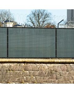 Real Scene Effect of Windscreen4less Custom Size 1-14ft x 1-150ft Fence Privacy Screen Coated Polyester Mesh in Color Dark Green with Brass Grommets 80% Blockage 250GSM w/3-Year Warranty