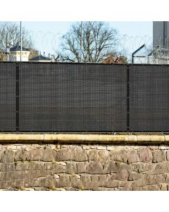 Real Scene Effect of Windscreen4less Custom Size 1-8ft x 1-150ft Fence Privacy Screen Coated Polyester Mesh in Color Black with Brass Grommets 80% Blockage 250GSM w/3-Year Warranty