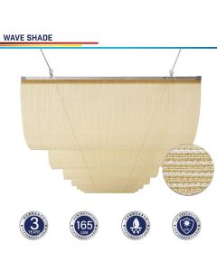 Windscreen4less Custom Retractable Canopy Replacement Cover for Pergola Slide On Wire Shade Cover Awning for Gazebo Trellis Hot Tub Top Cover Patio Deck Yard Porch Wave Shade 90% UV Blockage 3-7ft W x 1-40ft L Beige 165GSM (3 Year Warranty)