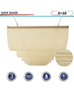 Windscreen4less Retractable Canopy Replacement Cover for Pergola Slide On Wire Shade Cover Awning for Gazebo Trellis Hot Tub Top Cover Patio Deck Yard Porch Wave Shade 90% UV Blockage 3ft W x 16ft L Beige 165GSM (3 Year Warranty)-Custom Sizes Available