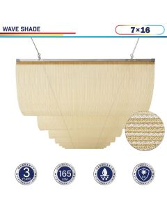 Windscreen4less Retractable Canopy Replacement Cover for Pergola Slide On Wire Shade Cover Awning for Gazebo Trellis Hot Tub Top Cover Patio Deck Yard Porch Wave Shade 90% UV Blockage 7ft W x 16ft L Beige 165GSM (3 Year Warranty)-Custom Sizes Available