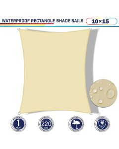 Windscreen4less Terylene Waterproof 10ft x 15ft Rectangle Curve Edge Sun Shade Sail Canopy in Color Beige for Outdoor Patio Backyard UV Block Awning with Steel D-Rings 220GSM (1 Year Warranty)