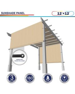 Windscreen4less Beige 12ft. W x 12ft. H Outdoor Sun Shade Panel Universal Pergola Replacement Cover Canopy with Grommets Weight Rods Sun Block Cover for Patio Backyard 180GSM (3 Year Warranty)-Custom Sizes Available