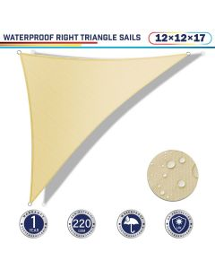Windscreen4less Terylene Waterproof 12ft x 12ft x 17ft Right Triangle Curve Edge Sun Shade Sail Canopy in Color Beige for Outdoor Patio Backyard UV Block Awning with Steel D-Rings 220GSM (1 Year Warranty)(Customized)