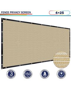 Windscreen4less 4ft x 25ft Heavy Duty Privacy Fence Screen in Color Beige with Brass Grommet 88% Blockage Windscreen Outdoor Mesh Fencing Cover Netting 150GSM Fabric (3 Year Warranty)-Custom Sizes Available