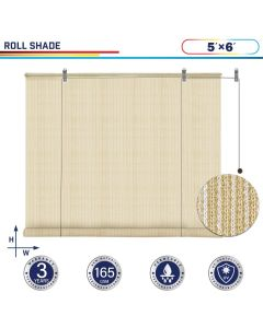 Windscreen4less Exterior Roller Shade Blinds Outdoor Roll Up Shade with 90% UV Protection Privacy for Deck Backyard Gazebo Pergola Balcony Patio Porch Carport 5ft W x 6ft H Beige 165GSM (3 Year Warranty)-Custom Sizes Available