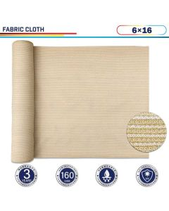 Windscreen4less Beige Sunblock Shade Cloth, 90% UV Block 6ft x 16ft 160GSM Shade Fabric Roll (3 Year Warranty)-Custom Sizes Available(Customized)