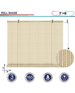 Windscreen4less Exterior Roller Shade Blinds Outdoor Roll Up Shade with 90% UV Protection Privacy for Deck Backyard Gazebo Pergola Balcony Patio Porch Carport 7ft W x 6ft H Beige 165GSM (3 Year Warranty)-Custom Sizes Available