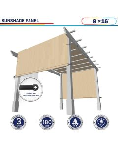 Windscreen4less Beige 8ft. W x 16ft. H Outdoor Sun Shade Panel Universal Pergola Replacement Cover Canopy with Grommets Weight Rods Sun Block Cover for Patio Backyard 180GSM (3 Year Warranty)-Custom Sizes Available(Customized)
