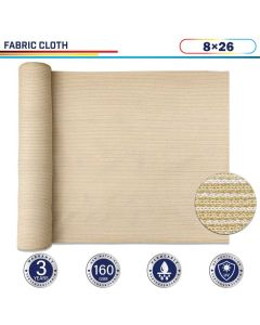 Windscreen4less Beige Sunblock Shade Cloth, 90% UV Block 8ft x 26ft 160GSM Shade Fabric Roll (3 Year Warranty)-Custom Sizes Available