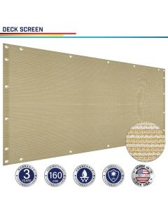 Windscreen4less Custom Size 3-3ft x 1-320ft Heavy Duty Privacy Deck Screen in Color Beige with Brass Grommet 90% Blockage Windscreen Outdoor Mesh Fencing Cover Netting 160GSM Fabric w/3-Year Warranty