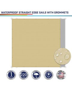 Windscreen4less Custom Size Terylene Waterproof 2-24ft x 2-40ft Rectangle Straight Edge Sun Shade Sail Canopy With Grommets in Color Beige for Outdoor Patio Backyard UV Block Awning with Steel D-Rings 220GSM (1 Year Warranty)