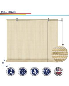 Windscreen4less Custom Exterior Roller Shade Blinds Outdoor Roll Up Shade with 90% UV Protection Privacy for Deck Backyard Gazebo Pergola Balcony Patio Porch Carport 4-8ft W x 5-15ft H Beige 165GSM (3 Year Warranty)