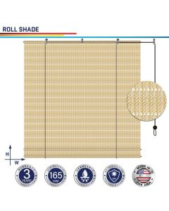 Windscreen4less Custom Exterior Roller Shade Blinds Outdoor Roll Up Shade with 90% UV Protection Privacy for Deck Backyard Gazebo Pergola Balcony Patio Porch Carport 4-8ft W x 5-15ft H Beige Hollow 165GSM (3 Year Warranty)
