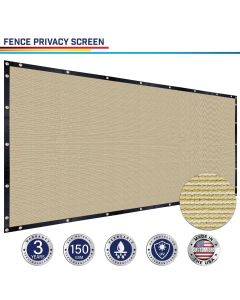 Windscreen4less Custom Size 4-8ft x 1-320ft Heavy Duty Privacy Fence Screen in Color Beige with Brass Grommet 88% Blockage Windscreen Outdoor Mesh Fencing Cover Netting 150GSM Fabric w/3-Year Warranty
