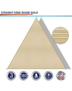 Windscreen4less Custom Size 5-24ft x 5-24ft x 5-34ft Triangle Straight Edge Sun Shade Sail Canopy in Color Beige for Outdoor Patio Backyard UV Block Awning with Steel D-Rings 180GSM (3 Year Warranty)
