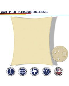 Windscreen4less Terylene Waterproof Custom Size 5-24ft x 5-24ft Rectangle Curve Edge Sun Shade Sail Canopy in Color Beige for Outdoor Patio Backyard UV Block Awning with Steel D-Rings 220GSM (1 Year Warranty)