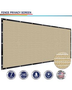 Windscreen4less Custom Size 1-16ft x 1-160ft Heavy Duty Privacy Fence Screen in Color Beige with Brass Grommet 95% Blockage Windscreen Outdoor Mesh Fencing Cover Netting 240GSM Fabric w/7-Year Warranty