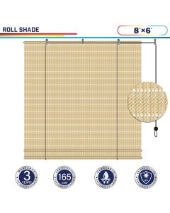 Windscreen4less Exterior Roller Shade Blinds Outdoor Roll Up Shade with 90% UV Protection Privacy for Deck Backyard Gazebo Pergola Balcony Patio Porch Carport 8ft W x 6ft H Beige Hollow 165GSM (3 Year Warranty)-Custom Sizes Available