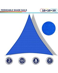 Windscreen4less 10ft x 10ft x 10ft Triangle Curve Edge Sun Shade Sail Canopy in Color Blue for Outdoor Patio Backyard UV Block Awning with Steel D-Rings 180GSM (3 Year Warranty) - Customized Sizes Available