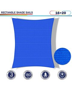 Windscreen4less 16ft x 20ft Rectangle Curve Edge Sun Shade Sail Canopy in Color Blue for Outdoor Patio Backyard UV Block Awning with Steel D-Rings 180GSM (3 Year Warranty) - Customized Sizes Available