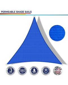 Windscreen4less Custom Size 2-20ft x 2-20ft x 2-20ft Triangle Curve Edge Sun Shade Sail Canopy in Color Blue for Outdoor Patio Backyard UV Block Awning with Steel D-Rings 180GSM (3 Year Warranty)