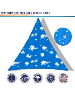 Windscreen4less Terylene Waterproof Custom Size 5-24ft x 5-24ft x 5-34ft Triangle Curve Edge Sun Shade Sail Canopy in Color Sky for Outdoor Patio Backyard UV Block Awning with Steel D-Rings 220GSM (1 Year Warranty)