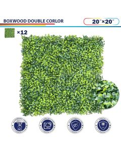 "Windscreen4less Artificial Faux Ivy Leaf Decorative Fence Screen 20"" x 20"" Boxwood Double 12pcs"