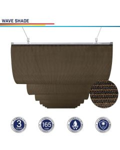 Windscreen4less Custom Retractable Canopy Replacement Cover for Pergola Slide On Wire Shade Cover Awning for Gazebo Trellis Hot Tub Top Cover Patio Deck Yard Porch Wave Shade 90% UV Blockage 3-7ft W x 1-40ft L Brown 165GSM (3 Year Warranty)