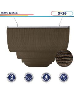 Windscreen4less Retractable Canopy Replacement Cover for Pergola Slide On Wire Shade Cover Awning for Gazebo Trellis Hot Tub Top Cover Patio Deck Yard Porch Wave Shade 90% UV Blockage 3ft W x 16ft L Brown 165GSM (3 Year Warranty)-Custom Sizes Available