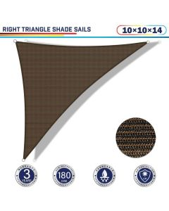 Windscreen4less 10ft x 10ft x 14ft Right Triangle Curve Edge Sun Shade Sail Canopy in Color Brown for Outdoor Patio Backyard UV Block Awning with Steel D-Rings 180GSM (3 Year Warranty) - Customized Sizes Available
