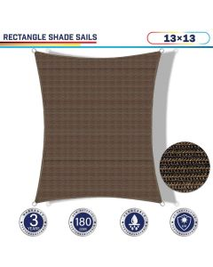 Windscreen4less 13ft x 13ft Rectangle Curve Edge Sun Shade Sail Canopy in Color Brown for Outdoor Patio Backyard UV Block Awning with Steel D-Rings 180GSM (3 Year Warranty) - Customized Sizes Available(Customized)