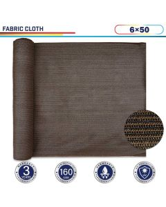 Windscreen4less Brown Sunblock Shade Cloth, 90% UV Block 6ft x 50ft 160GSM Shade Fabric Roll (3 Year Warranty)-Custom Sizes Available(Customized)