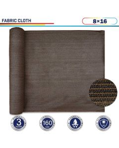 Windscreen4less Brown Sunblock Shade Cloth, 90% UV Block 8ft x 16ft 160GSM Shade Fabric Roll (3 Year Warranty)-Custom Sizes Available(Customized)